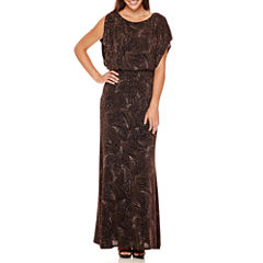 Signature by Sangria Dolman-Sleeve Glitter Bow-Back Blouson Formal Gown