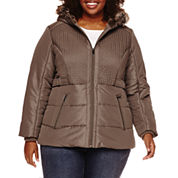 Details Braid Hooded Puffer Coat - Plus