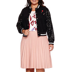 Ashley Nell Tipton for Boutique+ Sequined Bomber Jacket, Graphic Tee or Pleated Faux-Leather Skirt - Plus