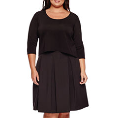 Ashley Nell Tipton for Boutique+ 3/4-Sleeve Scuba Crop Top or Box Pleat Skirt - Plus