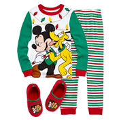 Disney Mickey Mouse Pajama Set and Slippers - Boys