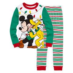Disney Mickey Mouse Holiday 2pc Pajama Set