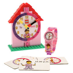 LEGO® Kids Time Teacher Watch with Pink Construction Clock & Activity Cards