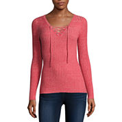 Arizona Long-Sleeve Ribbed Lace-Up Sweater - Juniors