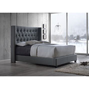 Baxton Studio Katherine Wing-Back Upholstered Bed
