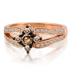 Grand Sample Sale™ by Le Vian® 5/8 CT. T.W. Vanilla Diamonds® & Chocolate Diamonds® in 14k Strawberry Gold® Chocolatier® Ring