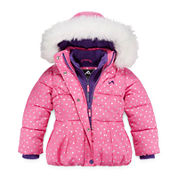 Vertical 9 Dot Puffer Vestee Jacket - Girls