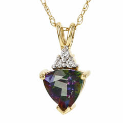 10K Yellow Gold Genuine Mystic Fire Topaz Diamond-Accent Necklace