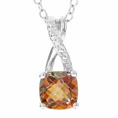 Sterling Silver Genuine Sunset Topaz & Diamond-Accent Pendant Necklace