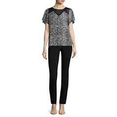 Worthington® Short-Sleeve Pleat Neck Blouse or Slim-Fit Ankle Pants