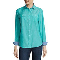 St. John's Bay® 2-Pocket Classic Shirt - Tall