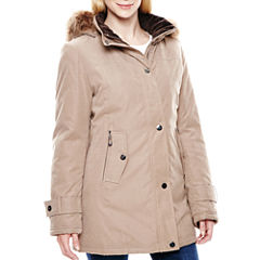 Miss Gallery Faux Fur-Trimmed Microfiber Coat