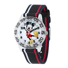 Disney Mickey Mouse Kids Time Teacher Striped Nylon Strap Watch