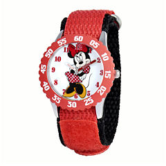 Disney Mickey Mouse Kids Time Teacher Red and Black Nylon Strap Watch