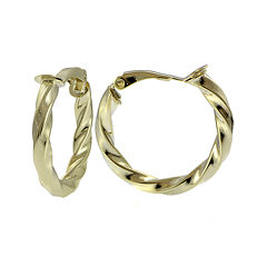 14K Yellow Gold Over Sterling Silver 25mm Twisted Hoop Clip-On Earrings