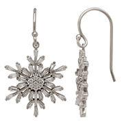 Sterling Silver Cubic Zirconia Baguette Snowflake Earrings