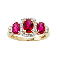 Lab-Created Ruby and White Sapphire 14K Yellow Gold Over Sterling Silver 3-Stone Ring