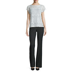 Worthington® Short Flutter-Sleeve Lace Top or Curvy Fit Pants