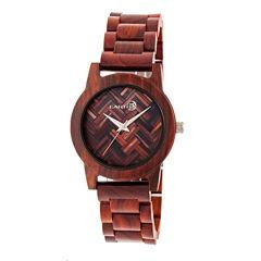 Earth Wood Crown Unisex Red Bracelet Watch-Ethew4503