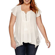 Unity™ Short-Sleeve Rayon Gauze Peasant Top with Lace - Plus