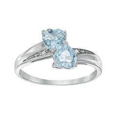 Lab-Created Aquamarine and Diamond-Accent Sterling Silver Double-Heart Ring