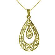 Majestique™ 18K Yellow Gold Filigree Pear Pendant Necklace