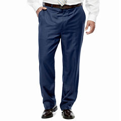 Stafford® Travel Medium Blue Flat-Front Suit Pants–Big & Tall