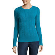 St. John's Bay® Long-Sleeve Cable-Knit Sweater - Tall