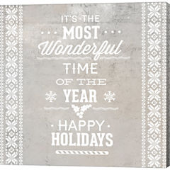 Christmas Text Gallery Wrapped Canvas Wall Art OnDeep Stretch Bars