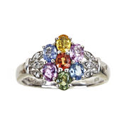 LIMITED QUANTITIES  Genuine Multicolor Sapphire and Diamond-Accent Cluster Ring