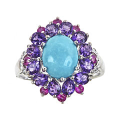 LIMITED QUANTITIES  Genuine Turquoise and Amethyst Flower Ring