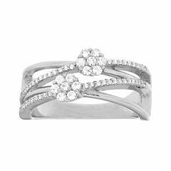 Diamond Blossom Womens 1/3 CT. T.W. Genuine White Diamond Sterling Silver Cocktail Ring