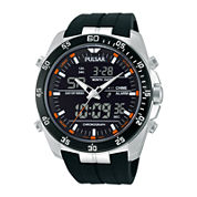 Pulsar® Mens Analog/Digital Black Silicone Strap Chronograph Watch PW6009