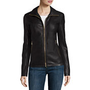 Liz Claiborne® Wing-Collar Faux-Leather Coat