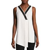 Worthington® Sleeveless Faux-Leather-Trim Top