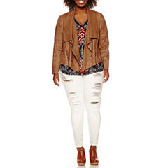 a.n.a® Faux-Suede Drape-Front Jacket Double V-neck Blouse or Jeggings
