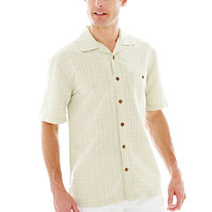 Island Shores™ Short-Sleeve Textured Plaid Shirt