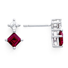 Sterling Silver Lab-Created Ruby & White Sapphire Earrings