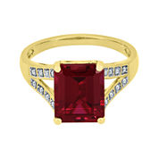 Lab-Created Ruby and White Sapphire Split-Shank Ring