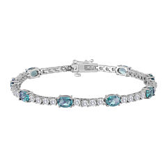 Oval Genuine Blue Topaz and Cubic Zirconia Tennis Bracelet