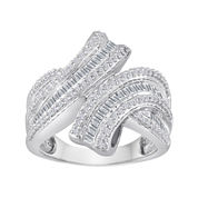 3/4 CT. T.W. Diamond Sterling Silver Bypass Ring