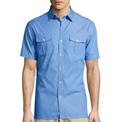 Claiborne® Short-Sleeve Military Woven Shirt