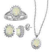 Lab-Created Opal & White Sapphire 3-pc. Oval Jewelry Set