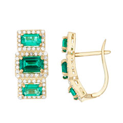 Lab Created Emerald And 5/8C.T. T.W. Diamond 10K Yellow Gold Earrings