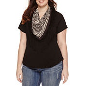 Unity™ Short-Sleeve Solid Top with Fringe Scarf - Plus