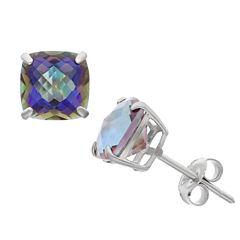 Cushion Blue Mystic Fire Topaz Sterling Silver Stud Earrings