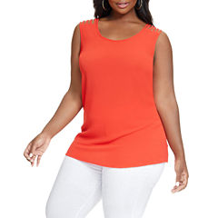 Fashion To Figure Lizzy Lattice Shoulder Woven Tank Top-Plus