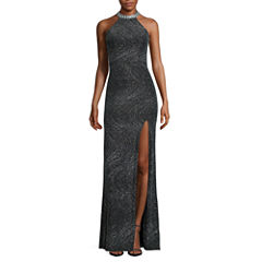 City Triangles® Embellished-Halter Glitter Long Slim Dress - Juniors