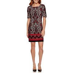 R&K Originals® Short-Sleeve Printed Shift Dress - Petite