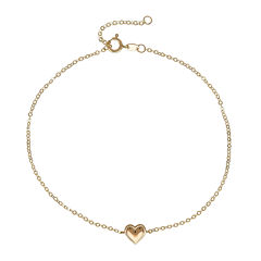 14K Yellow Gold Heart Ankle Bracelet
